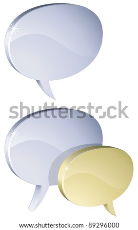 Metal 3D speech bubbles isolated on white background - raster version - stock photo
