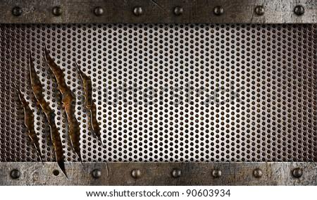 metal damaged grate background - stock photo