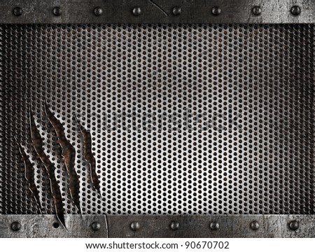 metal damaged grate background - stock photo