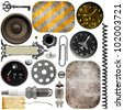 Metal details, car parts, metal plate and military instruments - stock photo