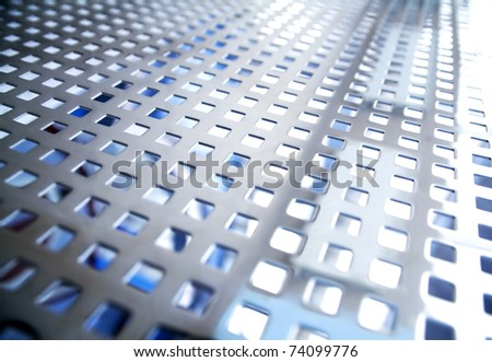 Metal details of an interior of modern office building - stock photo