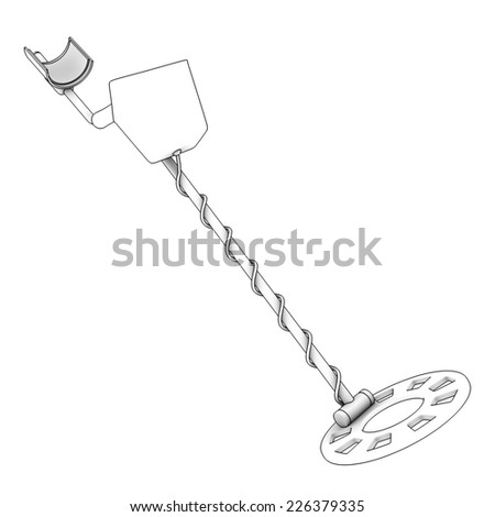 Metal detector, special equipment for treasure hunters. isolated on white background. 3d