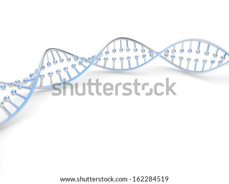 Metal DNA double helix spinal on white background  - stock photo