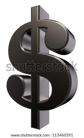 metal dollar symbol - 3d illustration - stock photo
