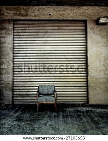 Metal Door And Single Chair Retro Photo Art Grunge - stock photo