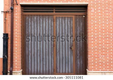 metal door garage access - stock photo
