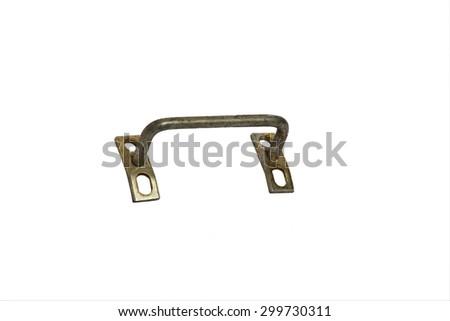 Metal door handle isolated on white background - stock photo