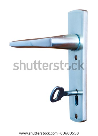 Metal door handle with key isolated on white - stock photo