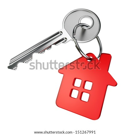 Metal door key with red house-shape trinket isolated on white background - stock photo