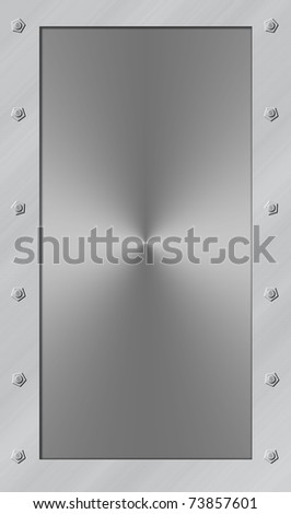 Metal door with frame and bolts in shiny stainless steel