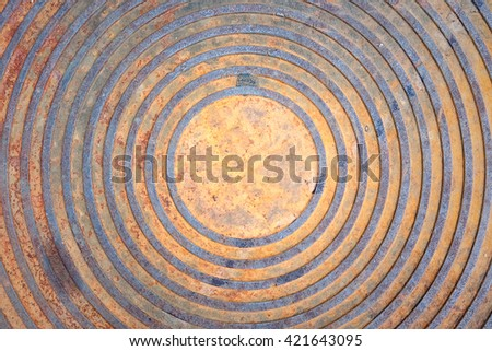 metal drain lid or manhole cover / grunge heavy metal drain grate texture. - stock photo