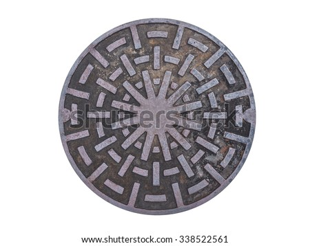 Metal drain lid or manhole cover isolated on background (and abstract metallic circle art design) - stock photo