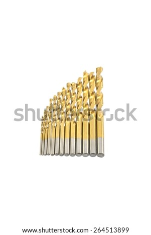 Metal drill bits for metal of different diameters on a white background - stock photo
