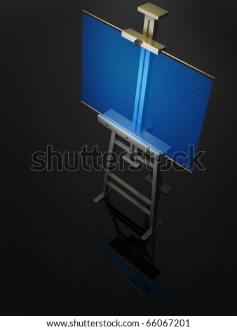 Metal easel with blue hologram isolated on black 3D render
