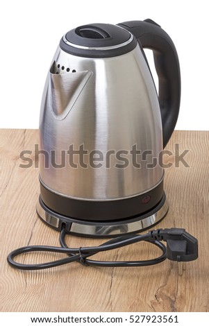Metal electric kettle on white background