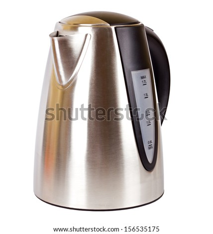 Metal electrical teakettle isolated on white background - stock photo