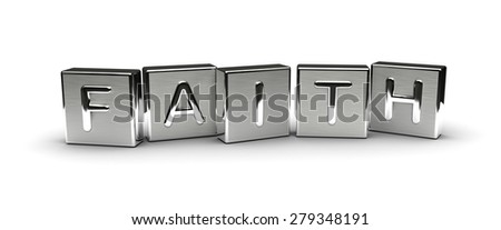 Metal Faith Text (Isolated on white background) - stock photo