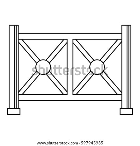 Metal fence icon. Outline illustration of metal fence  icon for web