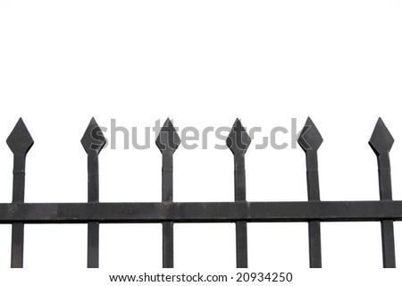 Metal fence isolated on white - stock photo