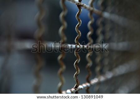 metal fence,shallow dof. - stock photo