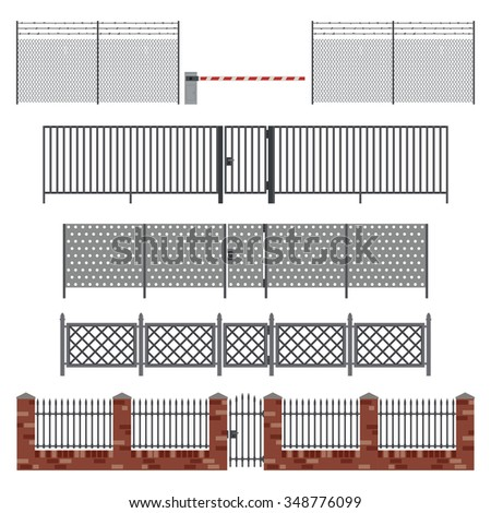 Metal fences and gates in flat style. Raster version. - stock photo