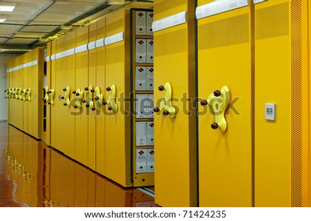 metal filing cabinets, anti fire - stock photo