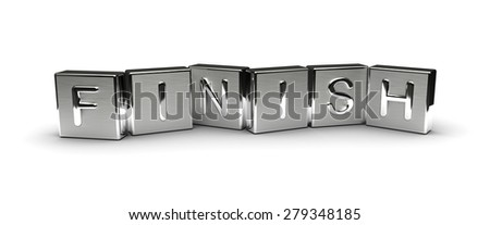 Metal Finish Text (Isolated on white background) - stock photo