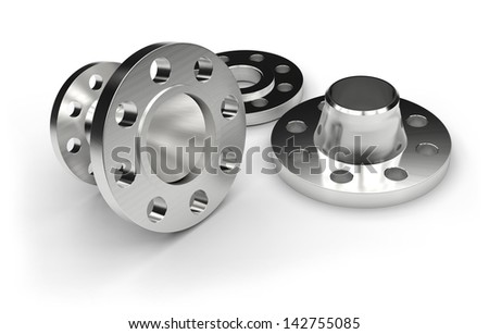 Metal flanges - stock photo