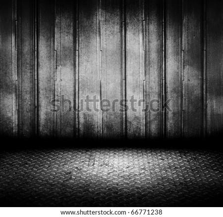 metal flap grain wall room - stock photo