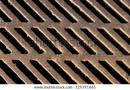 Metal floor texture with holes for water. industrial background