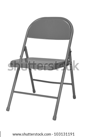 Metal folding chair isolated over a white background - stock photo