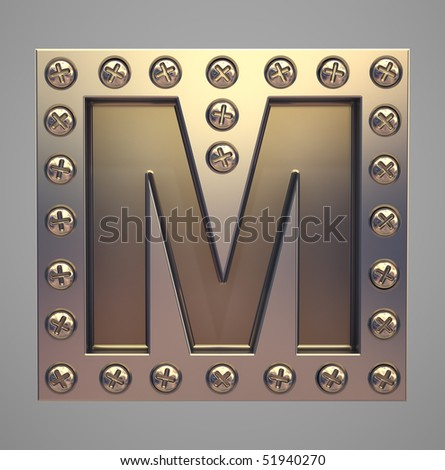 Metal font screw rivet - stock photo