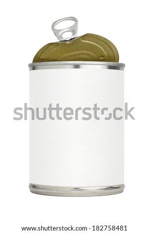 Metal food can or tin with a blank label and an easy open pull tab top with the lid partially open.  - stock photo