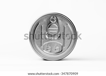 Metal food container lid isolated on white background.