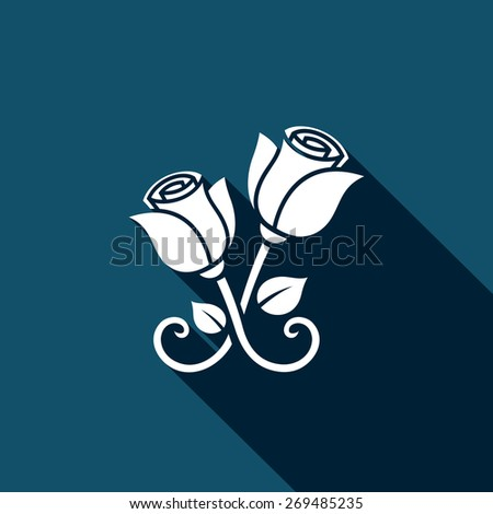 Metal forged roses icon - stock photo