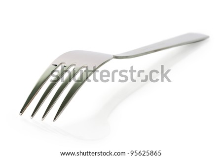 Metal fork isolated on white background