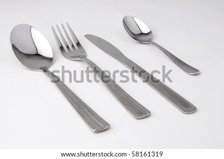 metal fork, knife and spoon isolated.