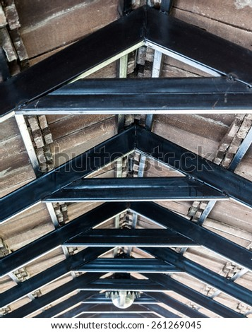 Metal frame of walkway roof in the factory. - stock photo