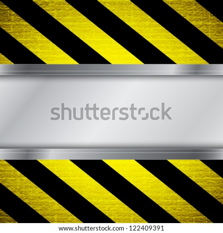 Metal frame on warning stripe background. Raster version of the loaded vector
