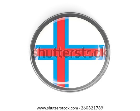 Metal framed round button with flag of faroe islands - stock photo