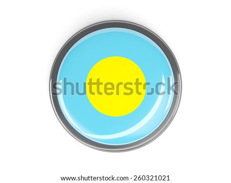 Metal framed round button with flag of palau