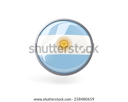 Metal framed round icon with flag of argentina - stock photo