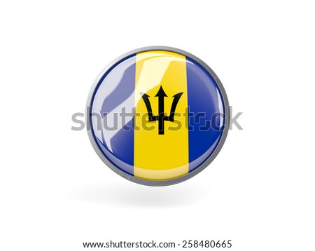 Metal framed round icon with flag of barbados - stock photo