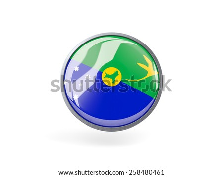 Metal framed round icon with flag of christmas island - stock photo