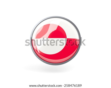 Metal framed round icon with flag of greenland
