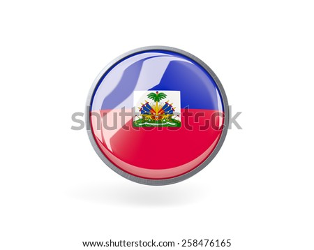 Metal framed round icon with flag of haiti - stock photo