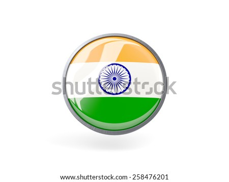Metal framed round icon with flag of india