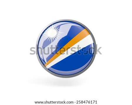 Metal framed round icon with flag of marshall islands - stock photo