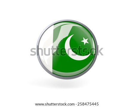 Metal framed round icon with flag of pakistan - stock photo