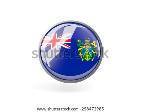 Metal framed round icon with flag of pitcairn islands - stock photo